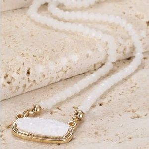 Jewelry - White Druzy and Glass Bead Gold Pendant